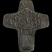 Vintage German Christianity Bronze Cross Egino Weinert Last Supper 1968