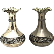 """Pair of Antique, Hand-Made Vera Lucino Silver-Plated Italian Vases, H 9.25"""""""