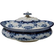 "Antique Victorian English Porcelain Flow Blue Tureen ""Garland"" Leighton Pottery, L 26.4 cm"