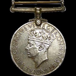 Vintage 1945 Commonwealth India War Medal 1939-1945 George VI, Verso Lion & Dragon