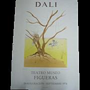 Lithograph Poster Salvador Dali Exhibition 1974 Teatro Museo FIGUERAS, 73x52cm E