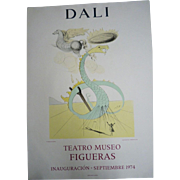 Vintage Lithograph Poster Salvador Dali Exhibition 1974 Teatro Museo FIGUERAS, 73 x 52cm   H