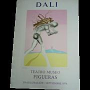 Vintage Lithograph Poster Salvador Dali Exhibition 1974 Teatro Museo FIGUERAS, 73 x 52cm    J