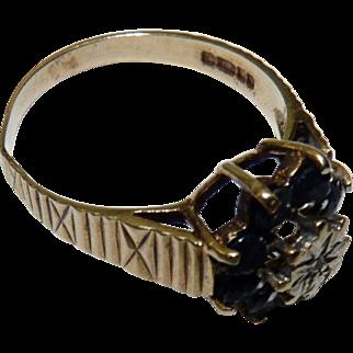 Vintage English London Leopard Hallmarked 9K Gold Ring, set w/Sapphires & Diamond