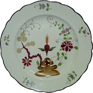 """Fine Antique 1850-1900 Marked Meissen Plate Indian Painting Series, 2 Incisions, D 9"""""""