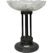 Antique 19C Polish Marked Fraget Silver-Plated Tazza on 4 Neo-Classical Pillars, H 30.3cm