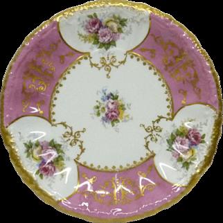 Antique French Limoges 1891-1914 Porcelain Plate w/Gold Marked Lanternier D 21cm