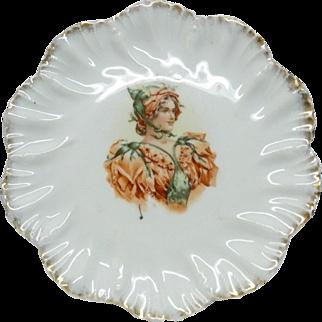 Antique Late 19C Porcelain Plate, Transfer Print Lady's Portrait and Gold, D 20 cm