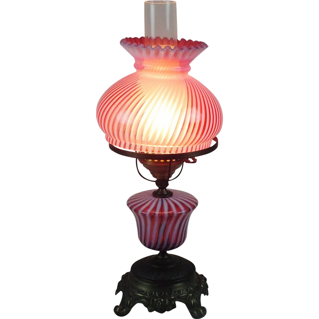Fenton table lamp with Cranberry Spiral glass SOLD on Ruby ...