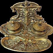 German Art Nouveau bronze ink well