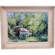 """1923 """"Barn in Forest"""" impressionist oil on board 12"""" x 16"""""""