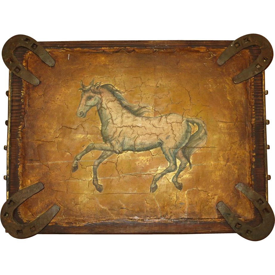 Western horse painting on wood with attached horseshoes for Mural art on wood