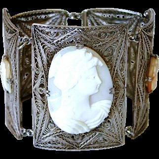 Italian 800 Silver Filigree Cameo Bracelet