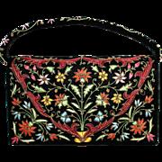 Embroidered Black Velvet Evening Bag