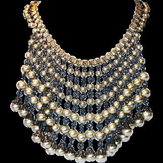 Faux-Pearl Bib Necklace