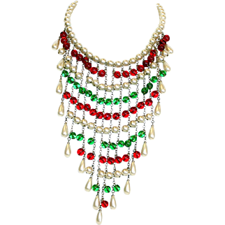 Faux-Pearl and Glass Bead Bib Necklace