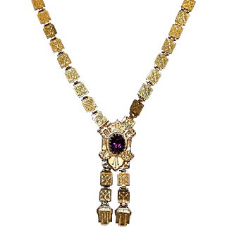 Victorian Gold-Filled Book Chain Amethyst Necklace