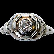 18K White Gold & Diamond Ring, 1920's Deco