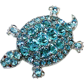 Large Turtle Brooch With Aqua Faceted Stones