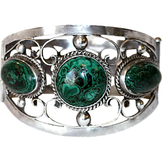 Sterling and Malachite Hinged Bangle, c.1940's