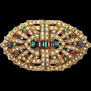 1920s Art Deco Jeweled Belt Buckle