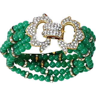 KJL Rhinestone & Green Beaded Bracelet