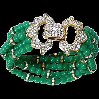 KJL Rhinestone & Green Beaded Bracelet