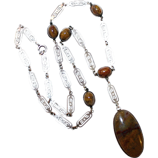 Deco Era Sterling and Agate Cabochon Necklace, C1910/20's