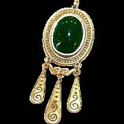 14K Gold and Chrysoprase Pendant, Etruscan Design