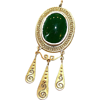 14K Gold and Chrysoprase Pendant, Etruscan Design