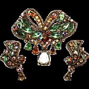 Capri Jeweled Brooch & Earring Set