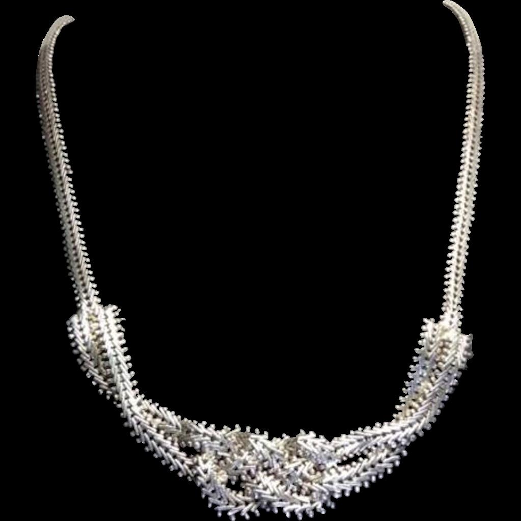 Vintage Sterling Silver Figure 8 Knot Flat Foxtail