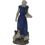 Bing & Grondahl 2220 Girl Feeding Chickens and Rooster Figurine