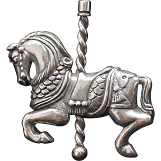 James Avery Sterling Silver Carousel Horse Brooch