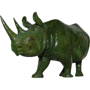 Vintage Jade Carved Rhinoceros