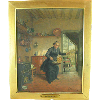 Antique Oil Painting Paul Schaan Whimsical Clergy In Country Kitchen genre interior