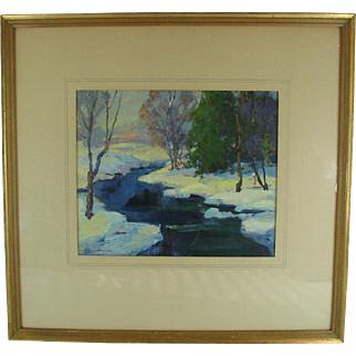 Vintage Georges Lachance Oil Painting Landscape Brown County Indiana