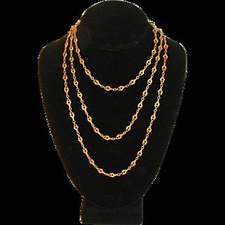 Antique 14 Karat Gold Long Guard Chain  56 Inches  Long Fancy Link 14k 19th Century 18