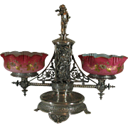 Antique Centerpiece Silver Plated Double Art Glass Bowls Mt Washington silverplate silverplated epergne Victorian