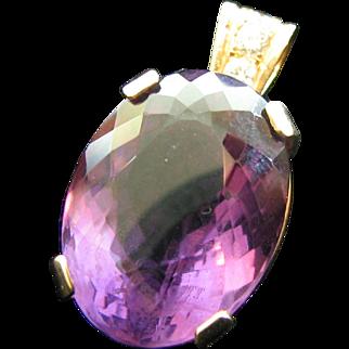 Vintage 33 Carat Amethyst Diamond Pendant 14 Karat Gold Frame large stone white diamonds