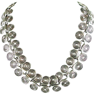 Vintage Taxco Sterling Necklace Coiled Wire Sterling Silver  18 inches Mexican Modernist