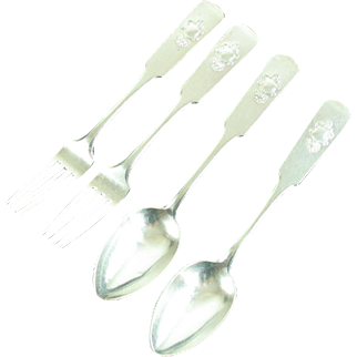 Antique Russian 84 Silver Flatware  Spoons Forks Labecki Warsaw Poland
