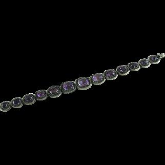 Edwardian Amethyst Silver Bracelet Link Graduated Stones