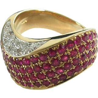 JCR Designer Ruby Diamond 14K Gold Ring Pave Set Retro Modern Cocktail Ring  John C Rinker 14 karat