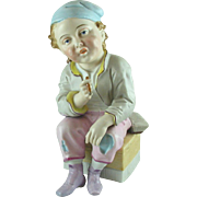 Porcelain Shoeshine Boy Figurine Smoking  Vintage 8 inches