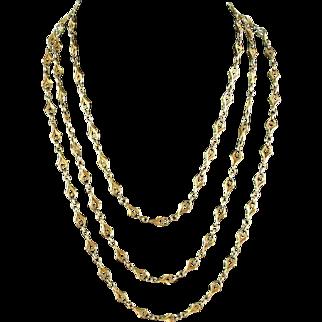 Antique 14 Karat Gold Fancy Chain Longuard  ca 1890