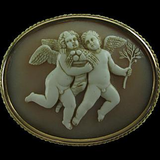 Antique  Carved Cameo Brooch 14 Karat Frame pin 14k