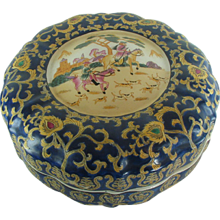 Chinese Large Lobed Porcelain Box Western Hunt Scene, lid, Famille Rose 14 inches
