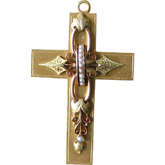 Antique 14 Karat Gold Cross Pendant / Pin Large 14k Brooch Applied Decorartion