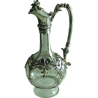 Antique Silver Mounted Crystal Claret Jug JCK Maker's Mark 800 + silver wine spirit decanter